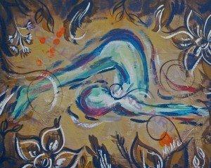 plow pose throat chakra soulful yoga artwork by noelle rollins art