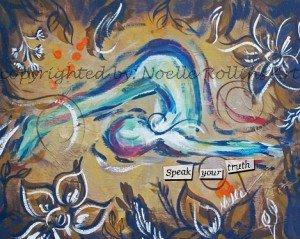 speak your truth throat chakra plow pose soulful yoga artwork by noelle rollins art