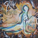 heart chakra upward facing dog soulful yoga artwork by noelle rollins art