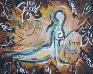 heart chakra upward facing dog soulful yoga artwork by noelle rollins art