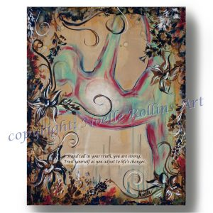 standing bow root chakra adjusting to change soulful yoga artwork by noelle rollins art