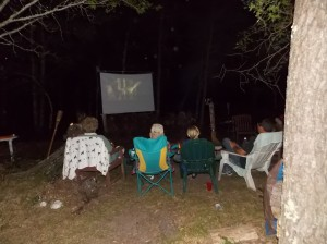 Family Watching Movie Outsdie