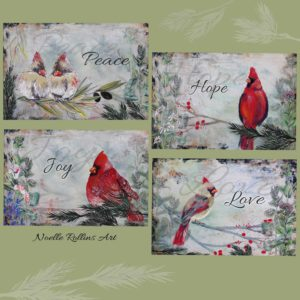hope love joy peace artwork postcard prints set