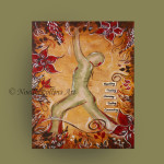warrior pose reaching learning new things root chakra soulful yoga artwork by noelle rollins art
