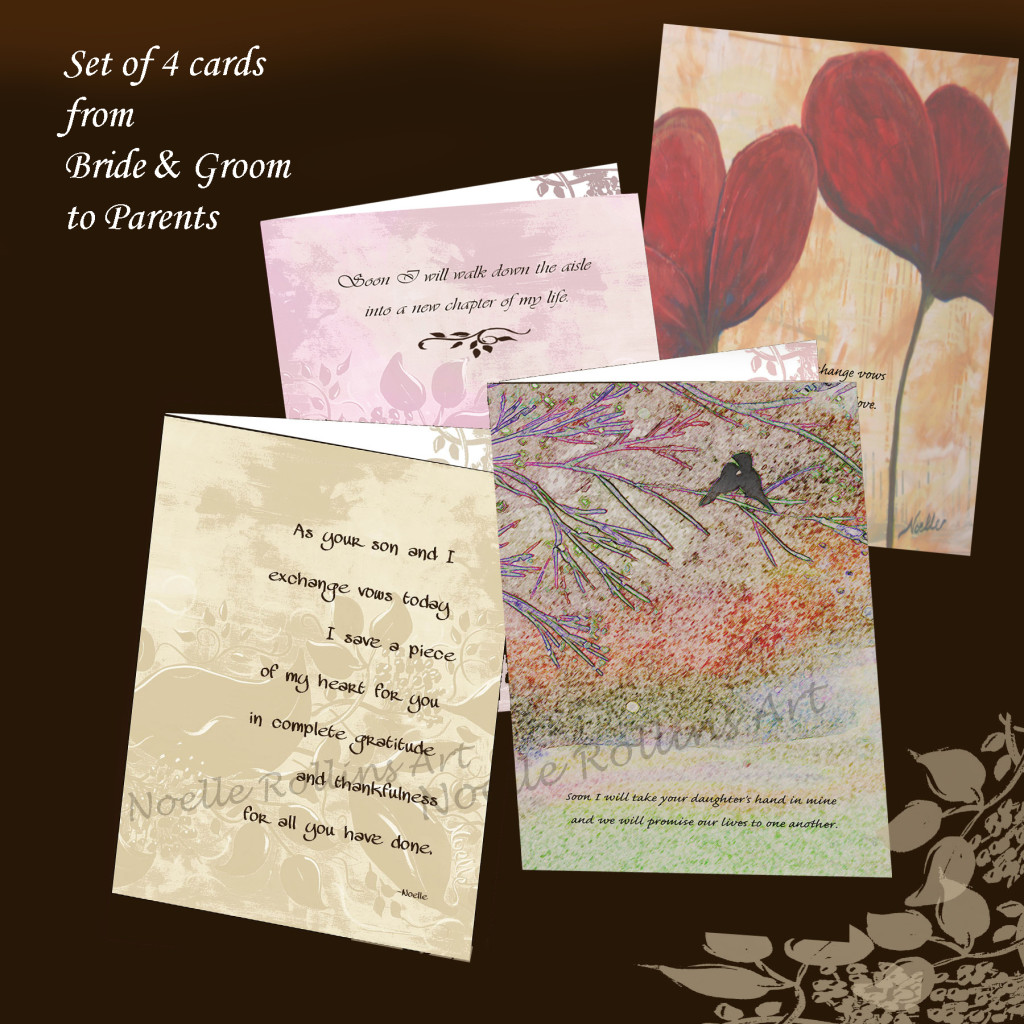 card set from bride and groom to give parents for wedding