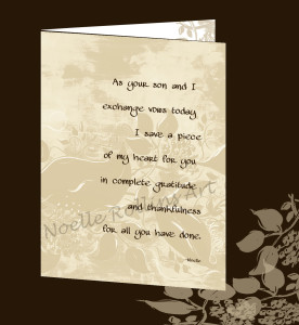wedding card from bride to grooms parents by Noelle Rollins
