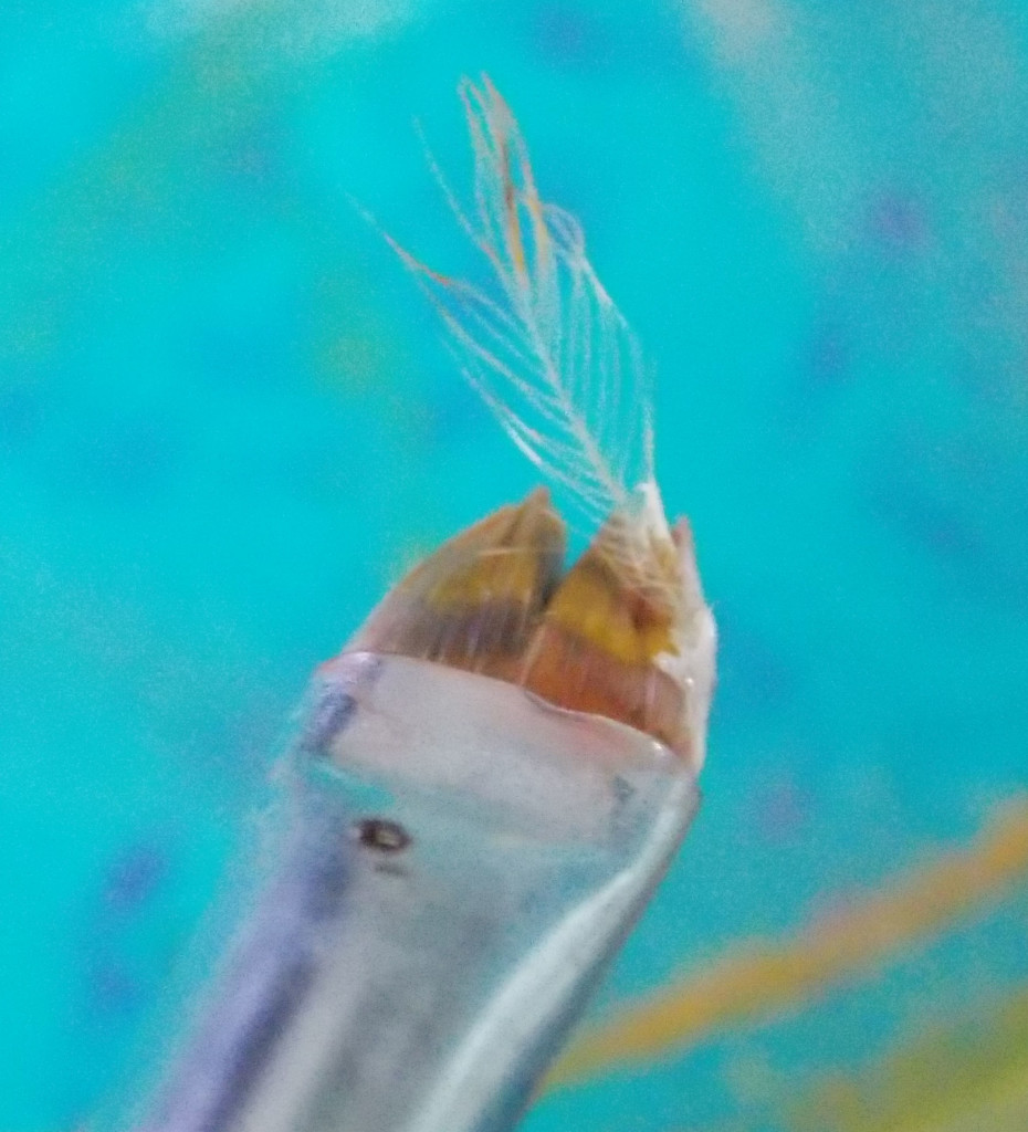 small feather appears on my brush while painting the 11:11 artwork