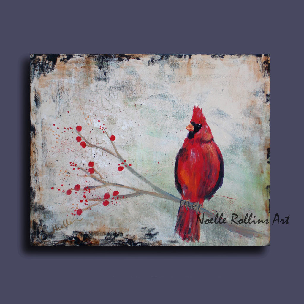Cardinal on branch artwork by Noelle Rollins Art