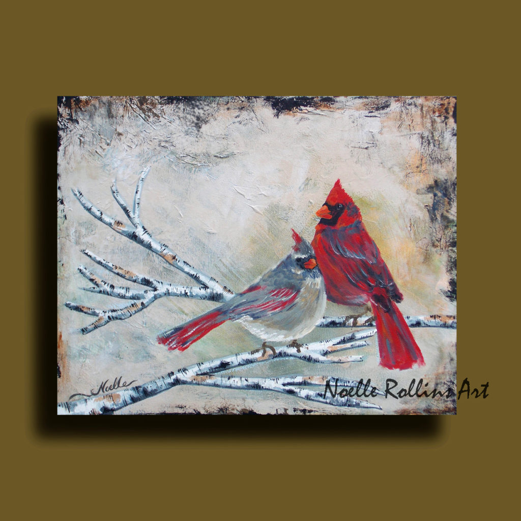 Red and gray cardinal couple wall artwork by Noelle Rollins Art