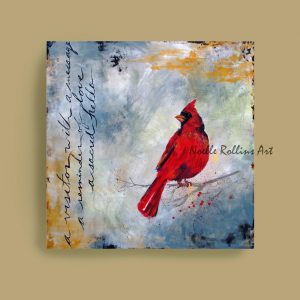 red cardinal visitor artwork sacred hellos artwork series by Noelle Rollins Art