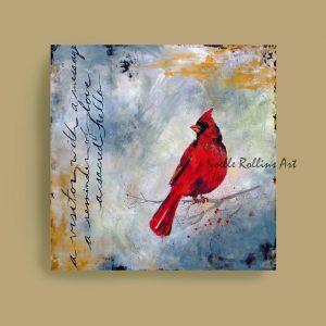 red cardinal visitor artwork sacred hellos artwork series by Noelle Rollins Art