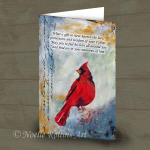 red cardinal remembrance memorial card to honor father who has passed away