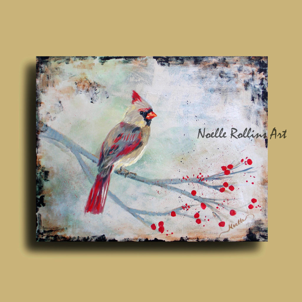 Female cardinal artwork by Noelle Rollins Art