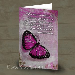 pink butterfly card to honor mom mother who has passed away memorial card remembrance card