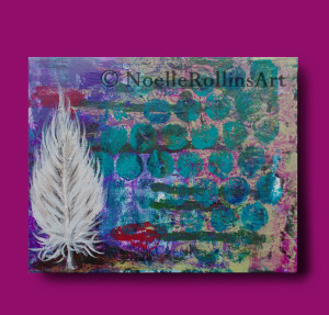 white feather art sacred hellos artwork Noelle Rollins Art