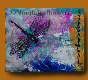 Dragonfly messenger art remembrance memorial art vibrant sacred hellos artwork Noelle Rollins Art