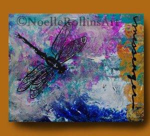 Dragonfly messenger art remembrance memorial art vibrant sacred hellos artwork Noelle Rollins Art