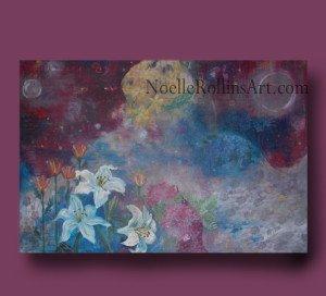Angel Gardens featuring flowers cherub orbs energy sacred hellos artwork Noelle Rollins Art