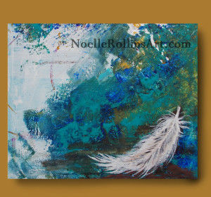 White feather sign from spirit artwork sacred hellos artwork Noelle Rollins Art