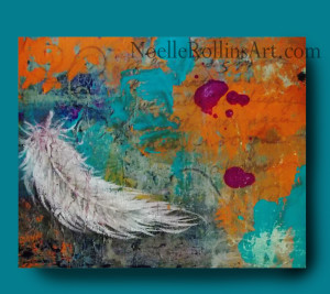 white feather artwork remembrance artwork memorial art sacred hellos artwork Noelle Rollins Art