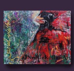 Cardinal Sacred Visitor painting sacred hellos artwork Noelle Rollins Art