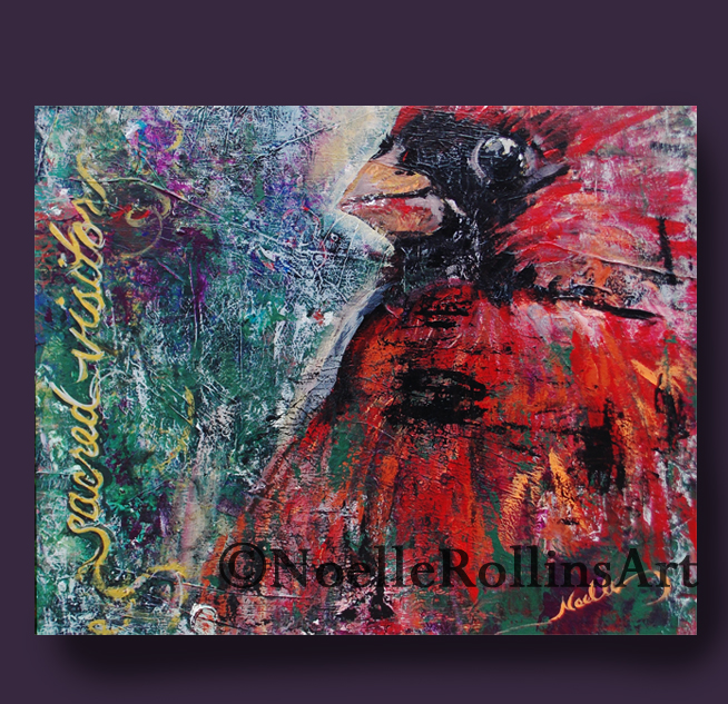 Red cardinal artwork Sacred hellos series by Noelle Rollins