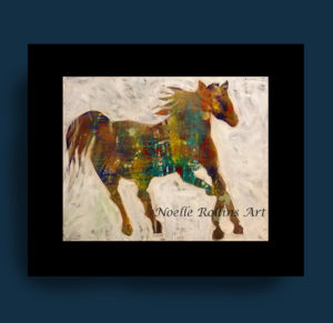 Running horse painting silhouette bold abstract by Noelle Rollins Art