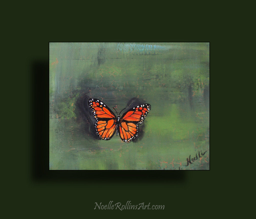 butterfly painting bold monarch with green background