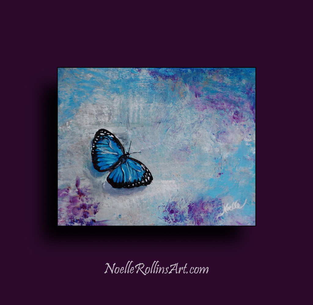 blue butterfly with sparkle accents remembrance painting
