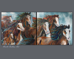 equine art horses running family of horses
