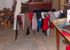 one of the many days of hanging laundry to dry inside at our old house.
