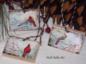 cardinal couple cardinal and female cardinal artwork print wood ornaments