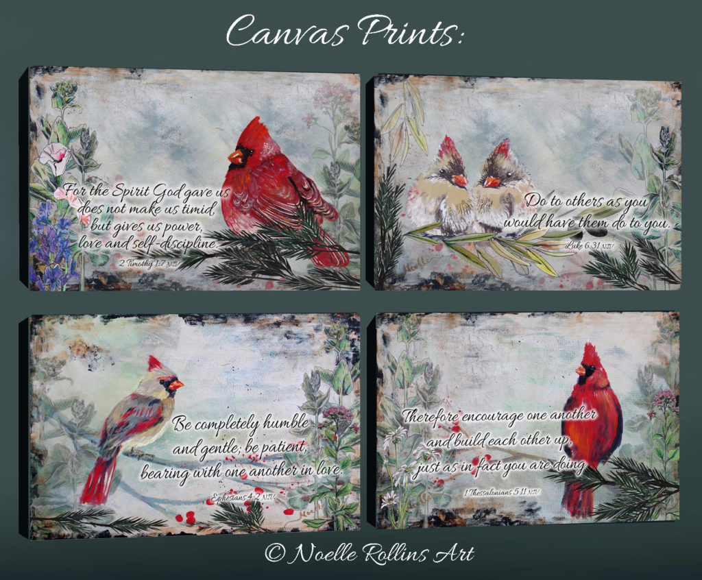 canvas art print cardinal art bible verses
