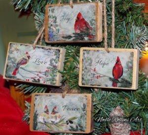 Christmas ornament set love joy hope peace cardinal ornament gift set