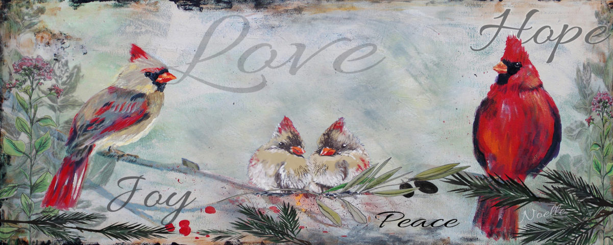 cardinal remembrance artwork from Noelle Rollins Art