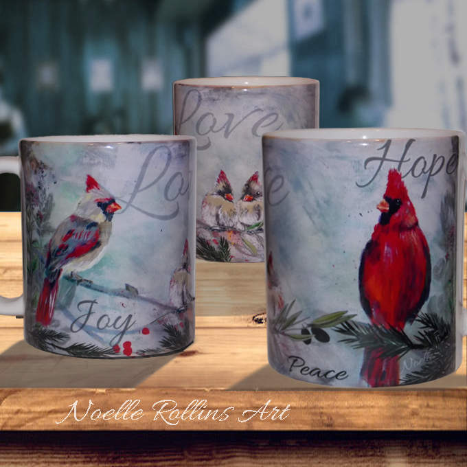 Love hope joy cardinal mugs