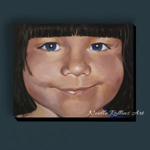 painting of little girl with bangs
