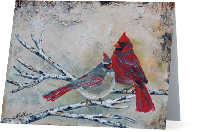 Cardinal Couple card by Noelle Rollins Art