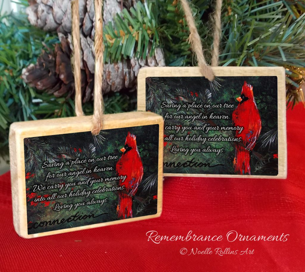 Cardinal memorial ornament from Noelle Rollins Art