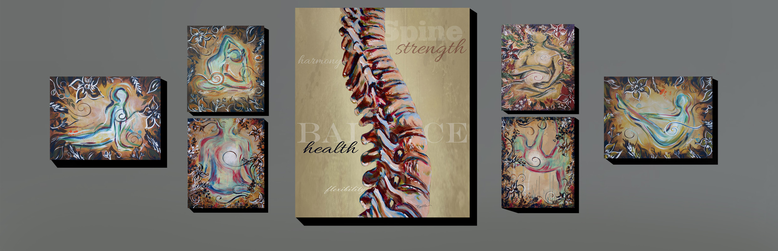 wall art featuring spine and yoga