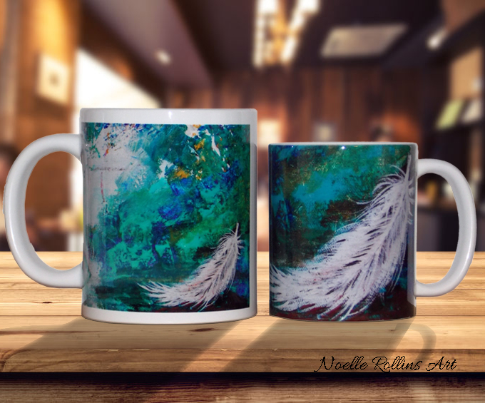 Feather mugs from Noelle Rollins Art