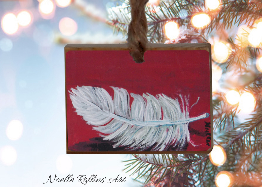 feather ornament hand painted