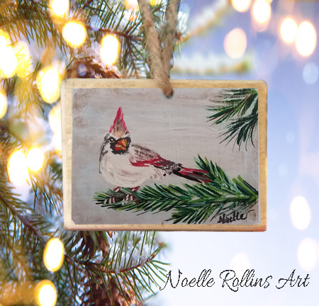 Female cardinal ornament Noelle Rollins Art