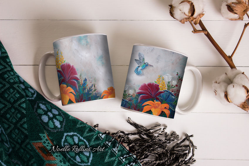 humming bird mug by Noelle Rollins Art