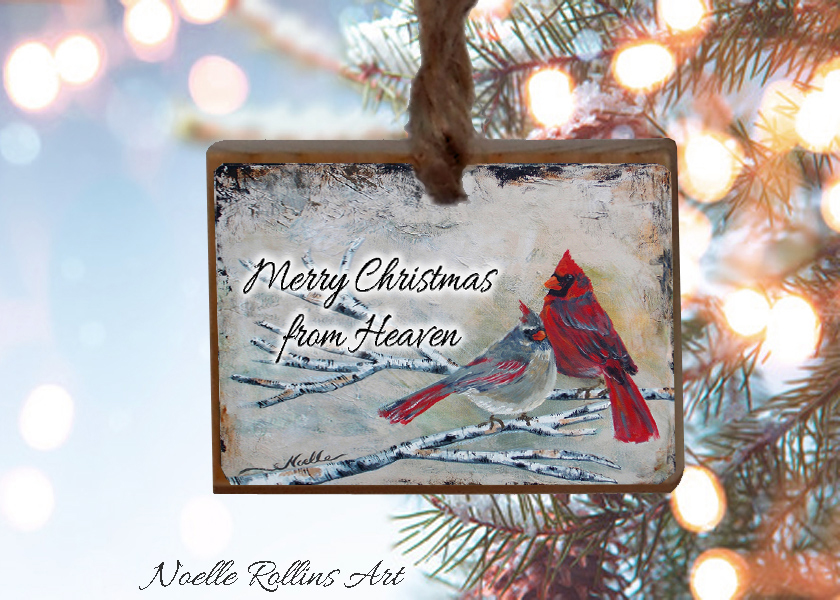 Cardinal Couple ornament Noelle Rollins Art