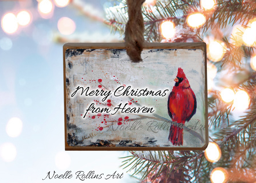 merry christmas from heaven ornament from noelle rollins art