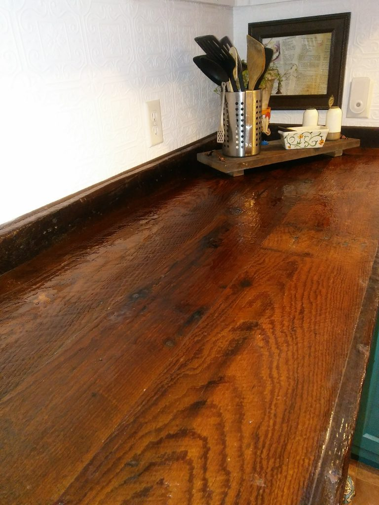 barnwood countertops in kitchen