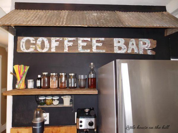tin corrugated awning coffee bar