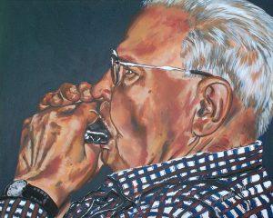 grandpa harmonica portrait