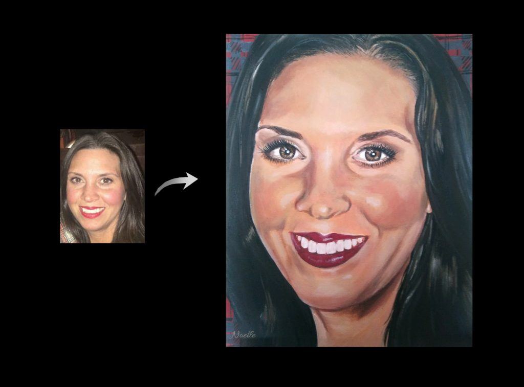 Painting of mom face from Noelle Rollins Art